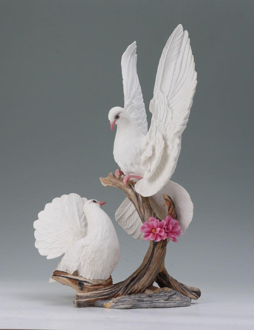 BOEHM DOVES WITH CHERRY BLOSSOM FIGURAL GROUP