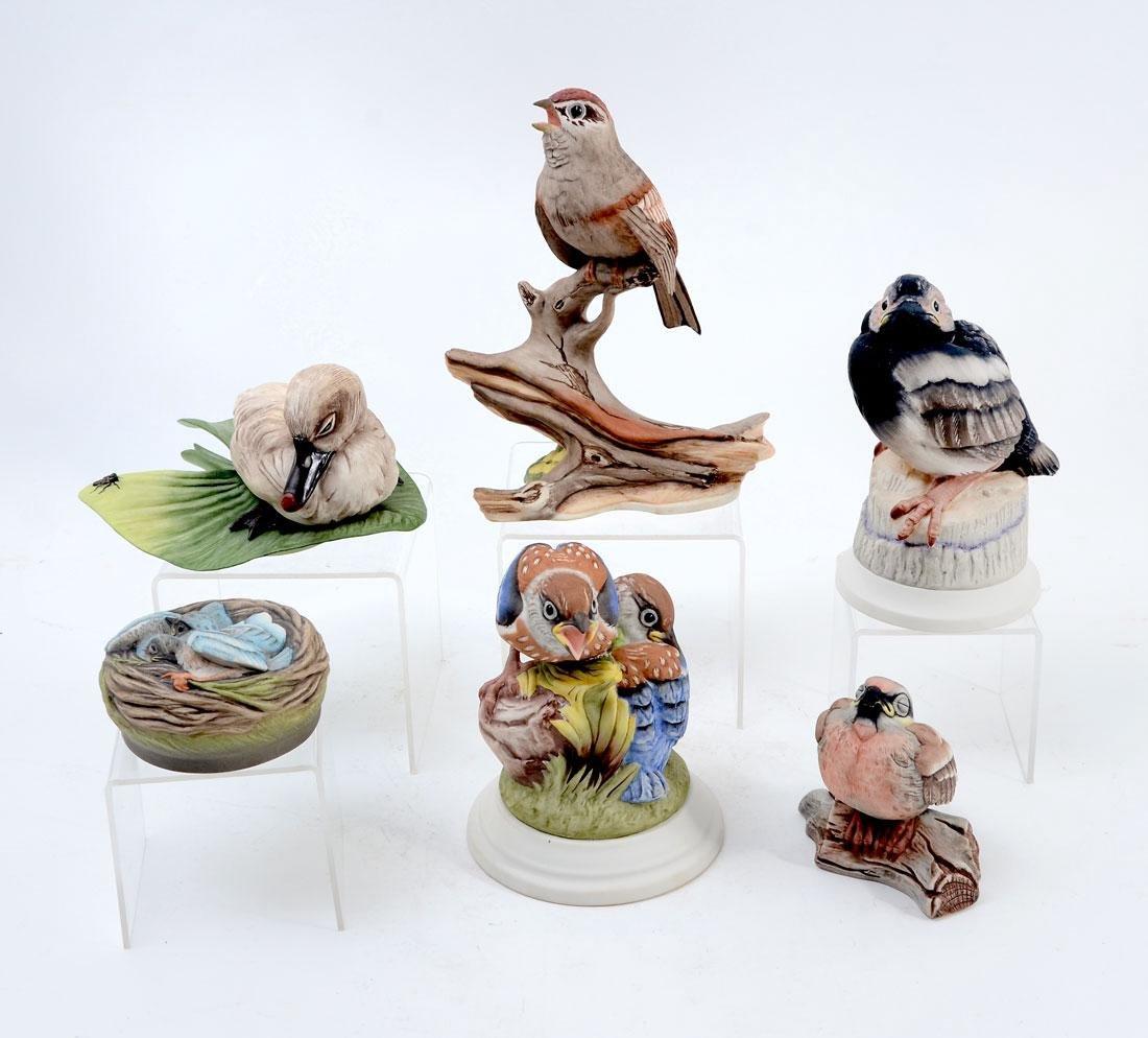 6 PIECE BOEHM PORCELAIN BIRD FIGURINES