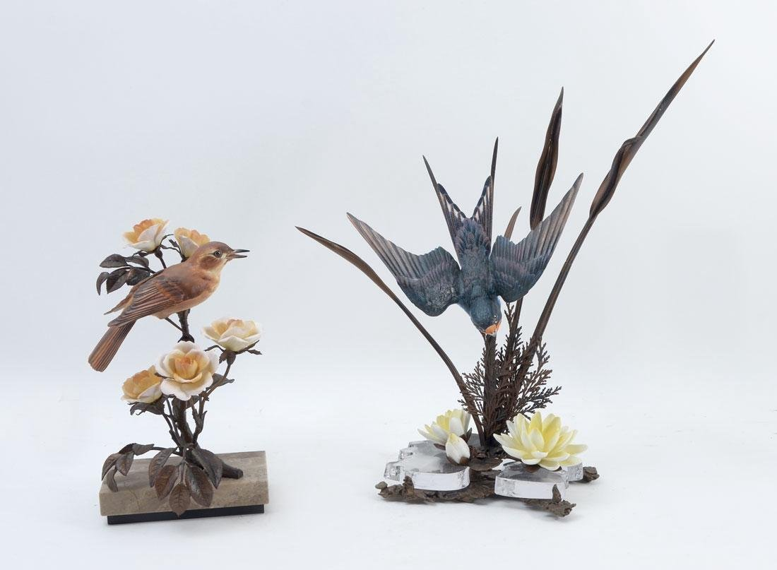 WORCESTER AND ALBANY BRONZE & PORCELAIN BIRDS