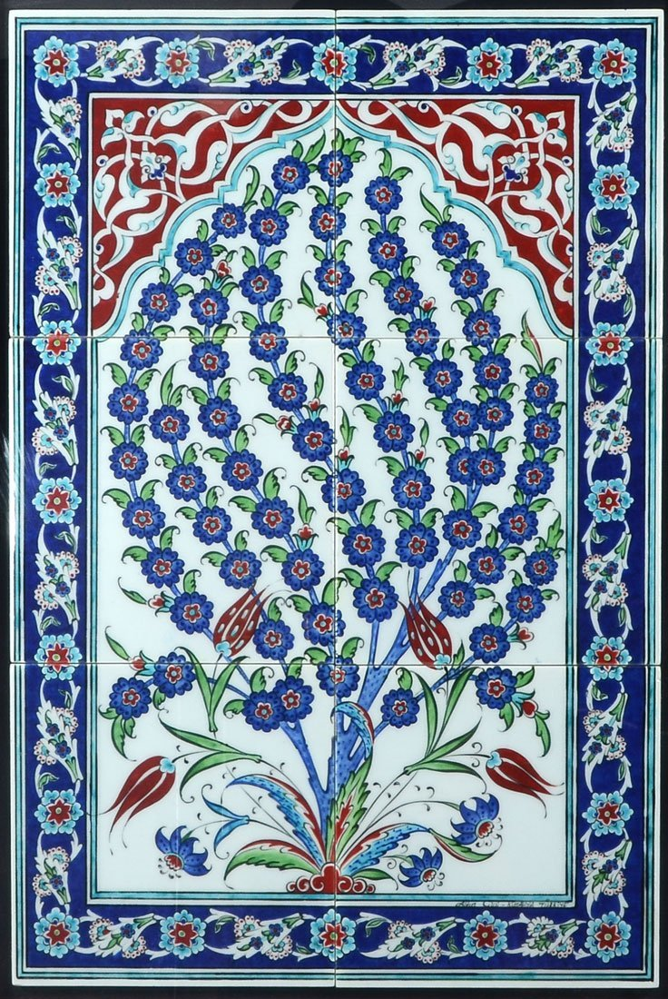 FRAMED PERSIAN 6 TILE TREE OF LIFE PANEL