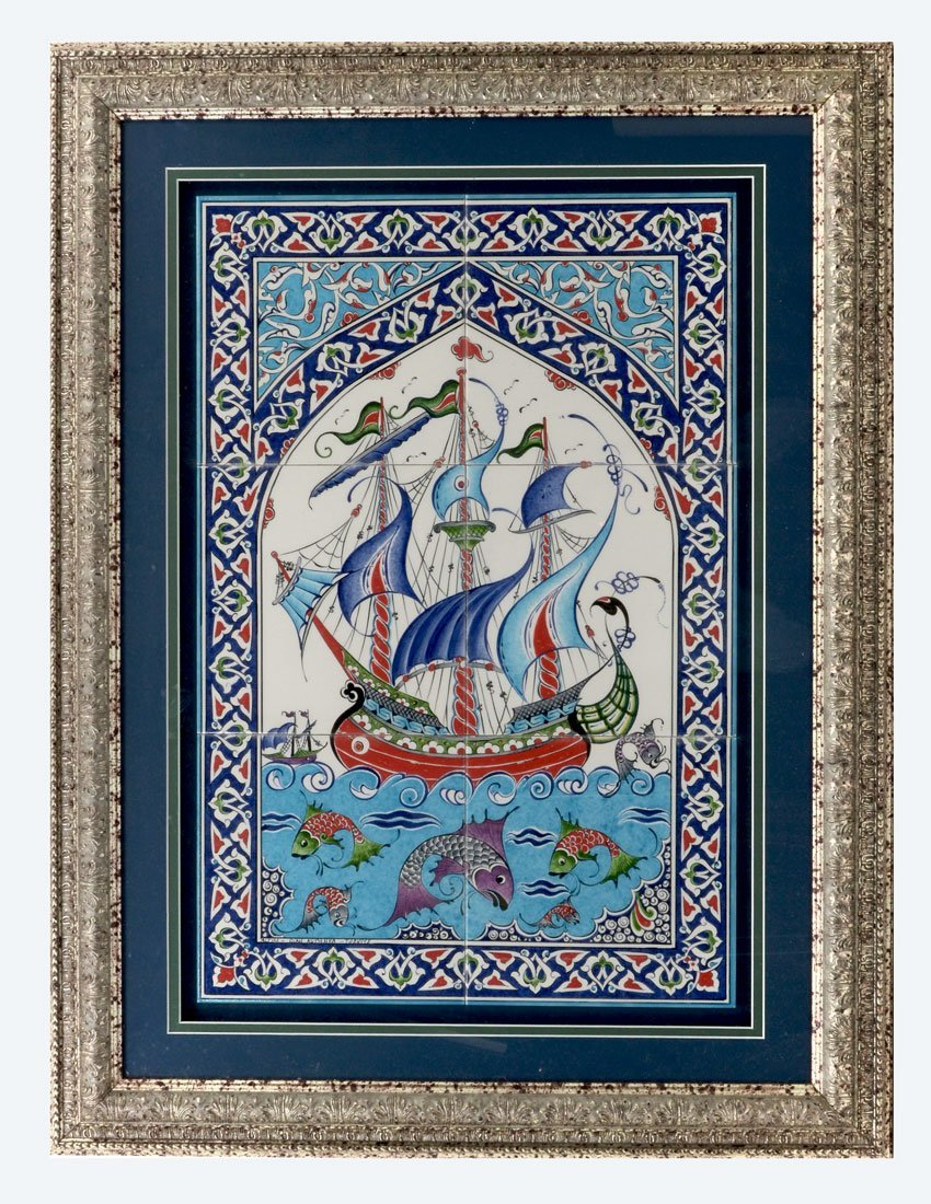 FRAMED PERSIAN 6 TILE SAILING SHIP & FISH PANEL