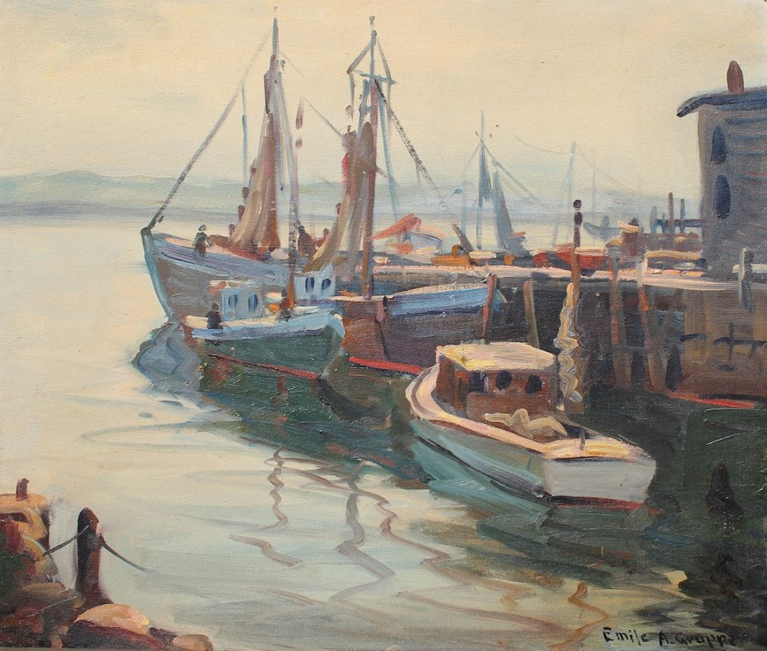 EMILE GRUPPE DOCKSIDE PAINTING
