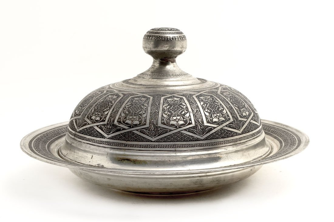 PERSIAN DAMASCENE SILVERED COVERED TRAY