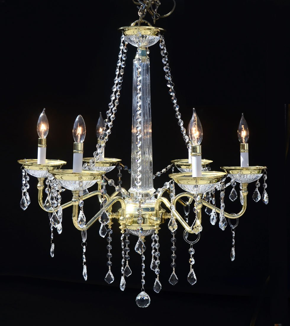 6 ARM BRASS & CRYSTAL CHANDELIER