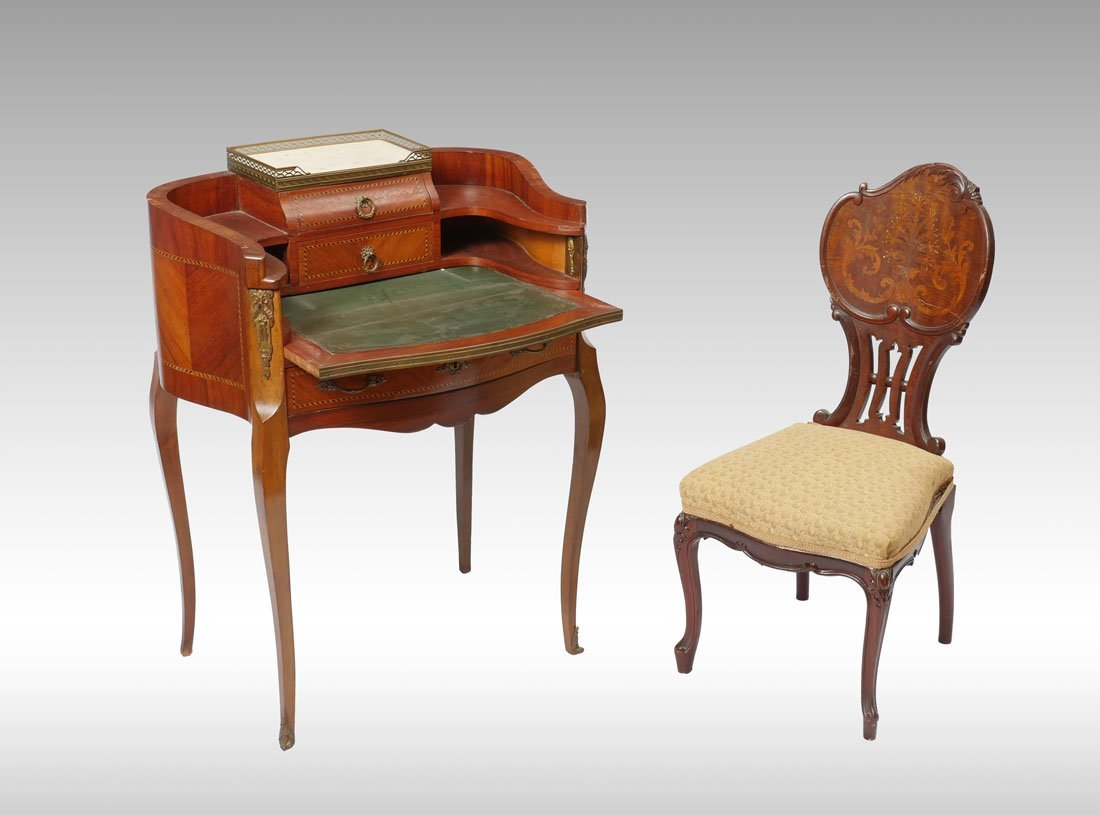 DIMINUTIVE WRITING DESK AND INLAID CHAIR