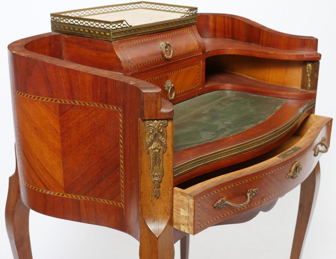 DIMINUTIVE WRITING DESK AND INLAID CHAIR - 2