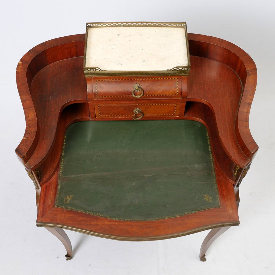 DIMINUTIVE WRITING DESK AND INLAID CHAIR - 3