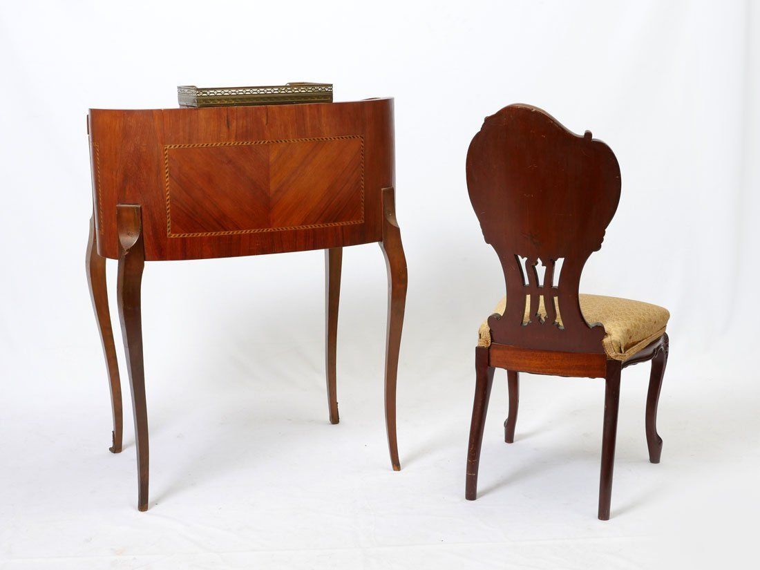 DIMINUTIVE WRITING DESK AND INLAID CHAIR - 7