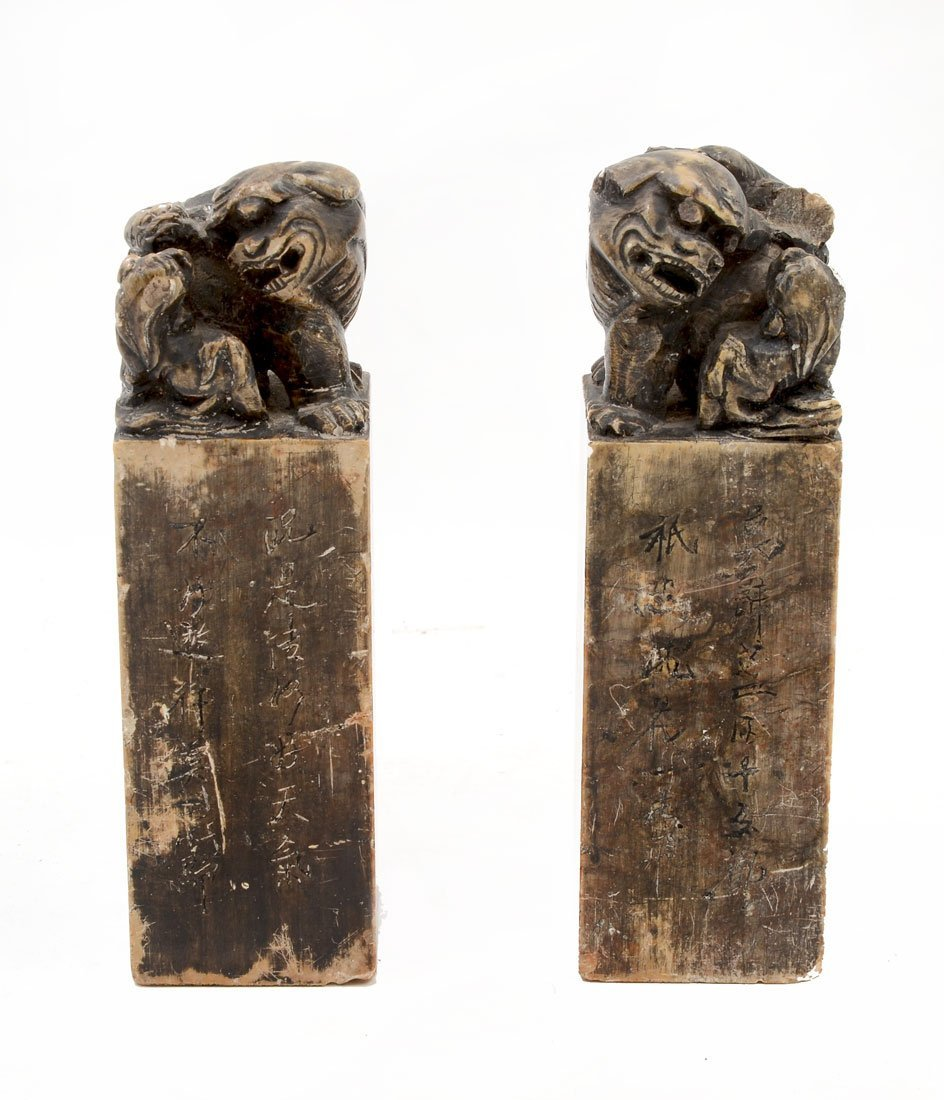 PAIR CHINESE CARVED FOO DOG SOAPSTONE SEALS