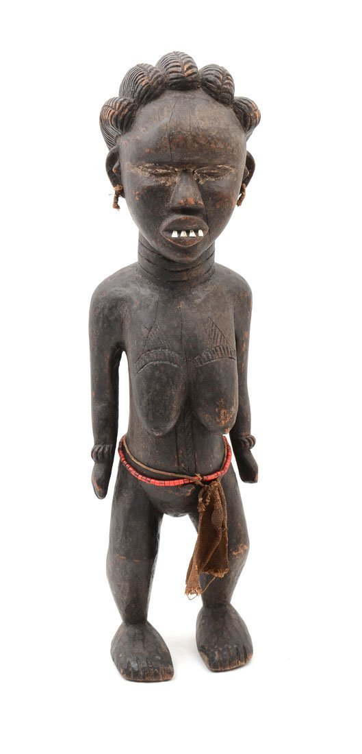 WEST AFRICAN DAN PEOPLES CARVED WOMAN FIGURE