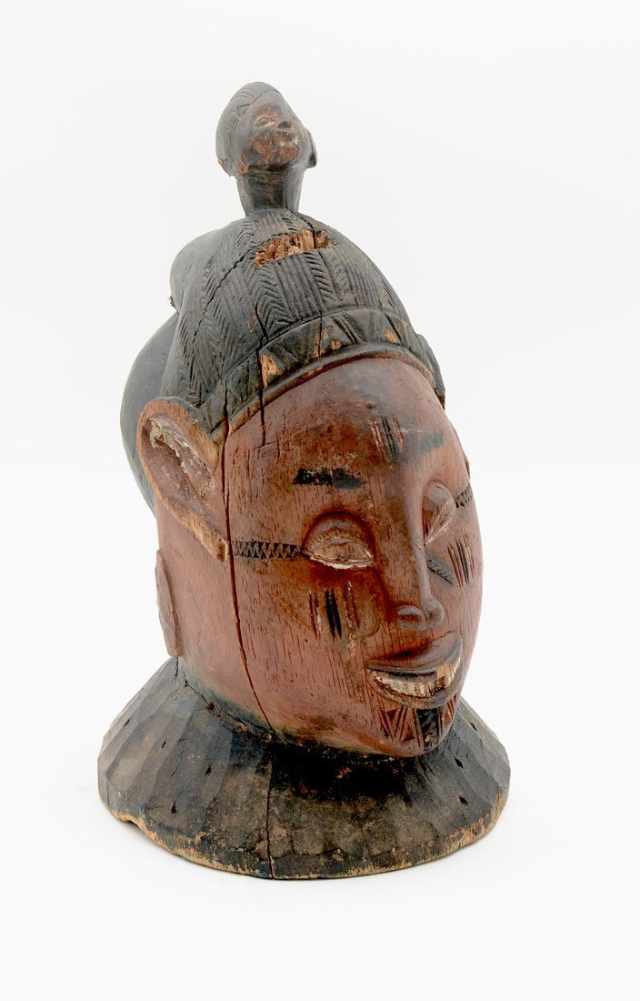 WEST AFRICAN YORUBA CARVED HELMET MASK