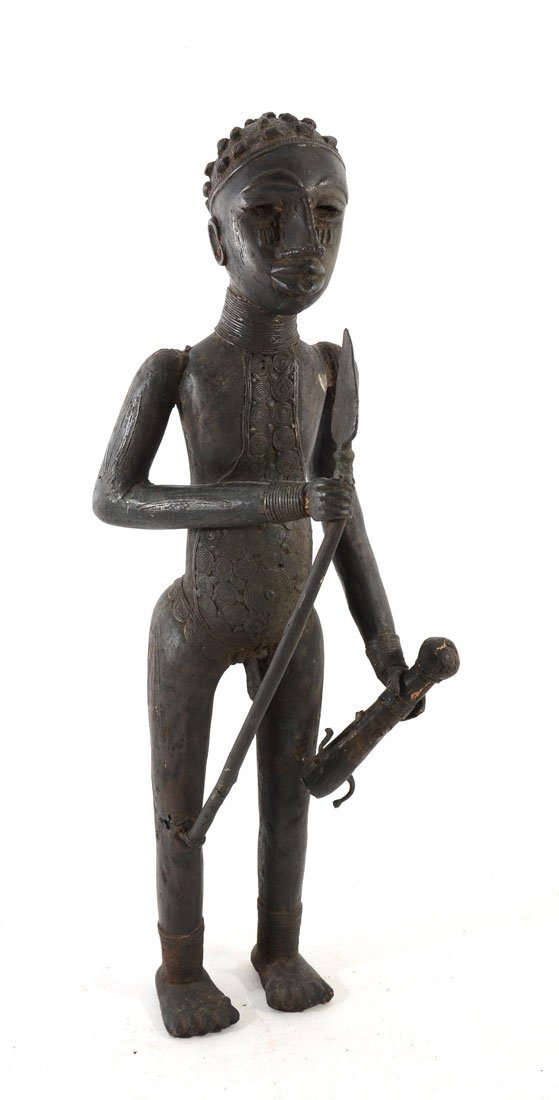 WEST AFRICAN BENIN BRONZE FIGURE HOLDING SPEAR