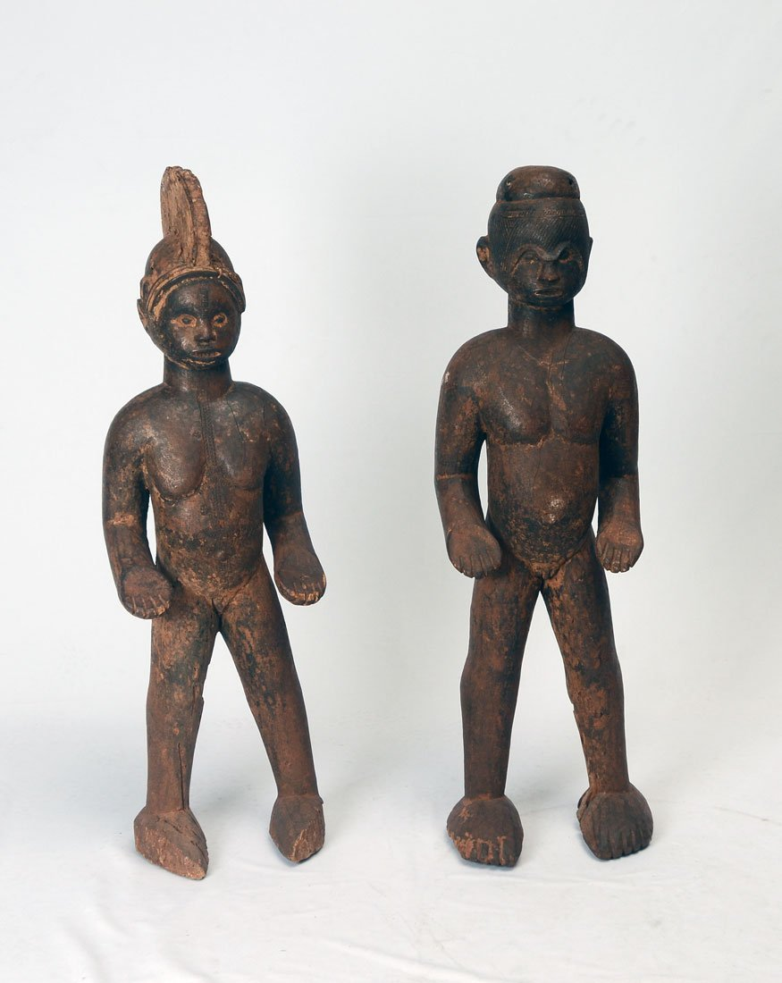 PAIR WEST AFRICAN IGBO CARVED SHRINE FIGURES