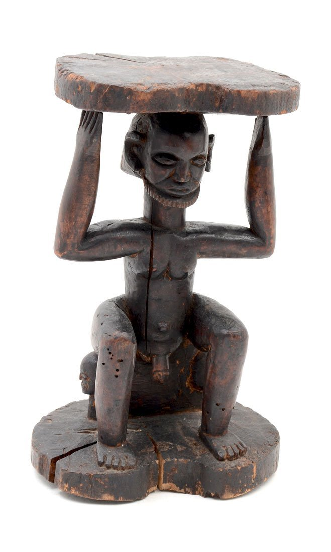 AFRICAN LUBA-HEMBA CARVED FIGURAL STOOL