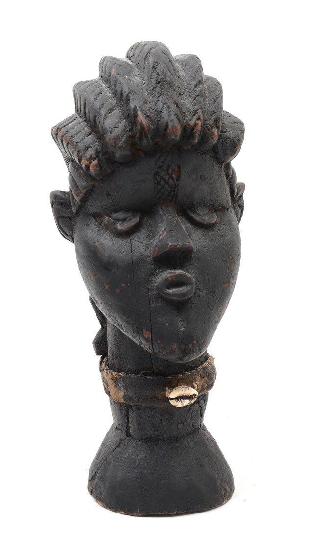 WEST AFRICAN CARVED DAN PEOPLES FETISH HEAD