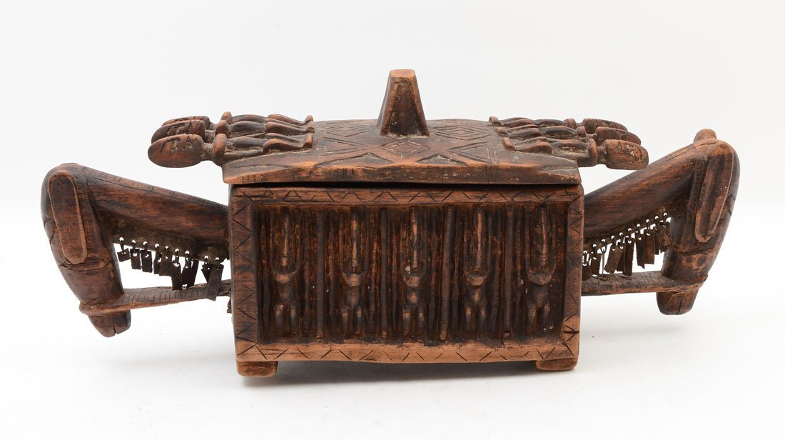 WEST AFRICAN DOGON CARVED FIGURAL MEDICINE BOX