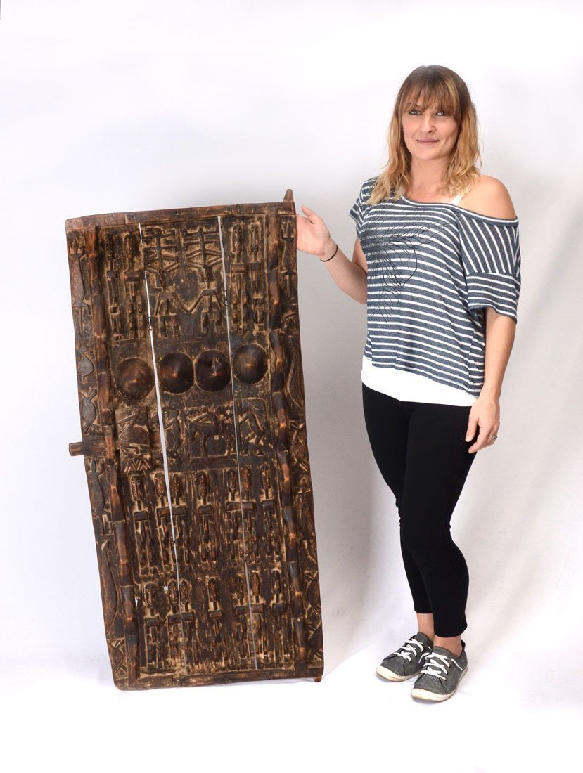 WEST AFRICAN DOYON CARVED WOOD SHUTTER
