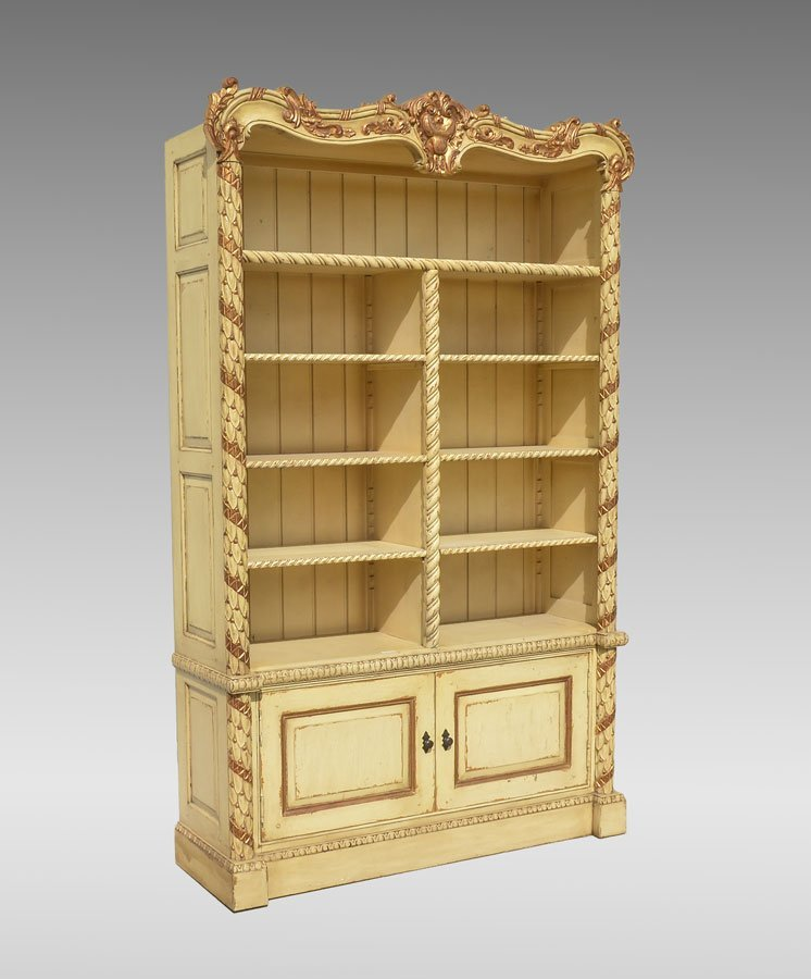 CONTINENTAL CARVED & PAINTED BOOKCASE