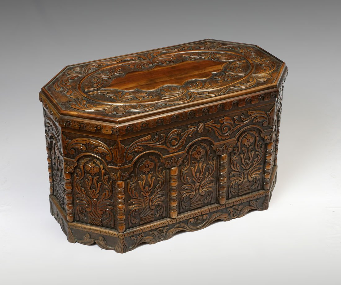 PERSIAN CARVED DOWRY CHEST