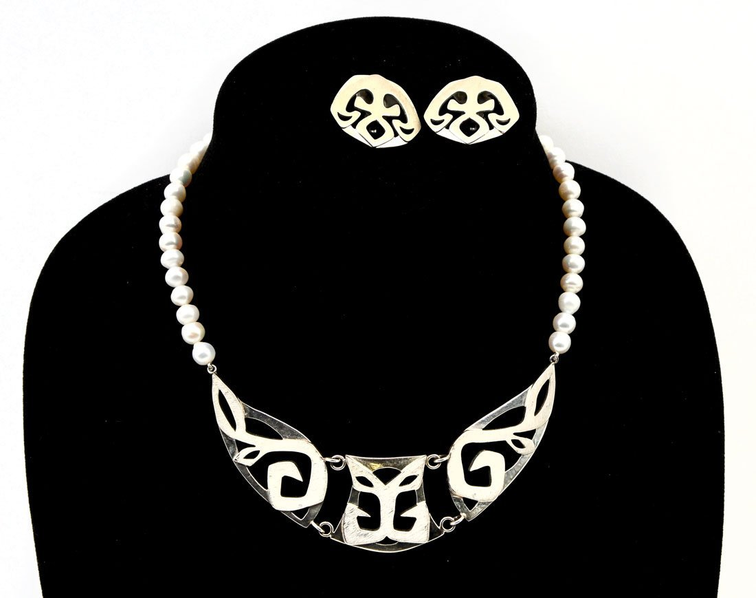 JOHN AGEE STERLING & PEARLS NECKLACE AND EARRING