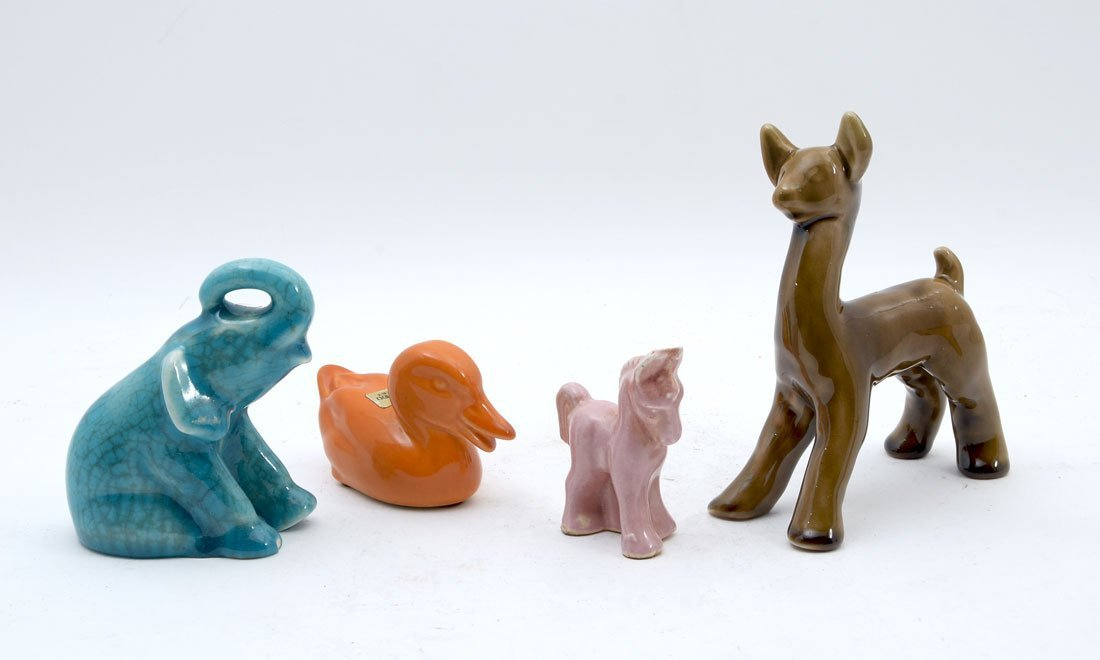 4 PIECE ROOKWOOD & OTHER POTTERY ANIMALS