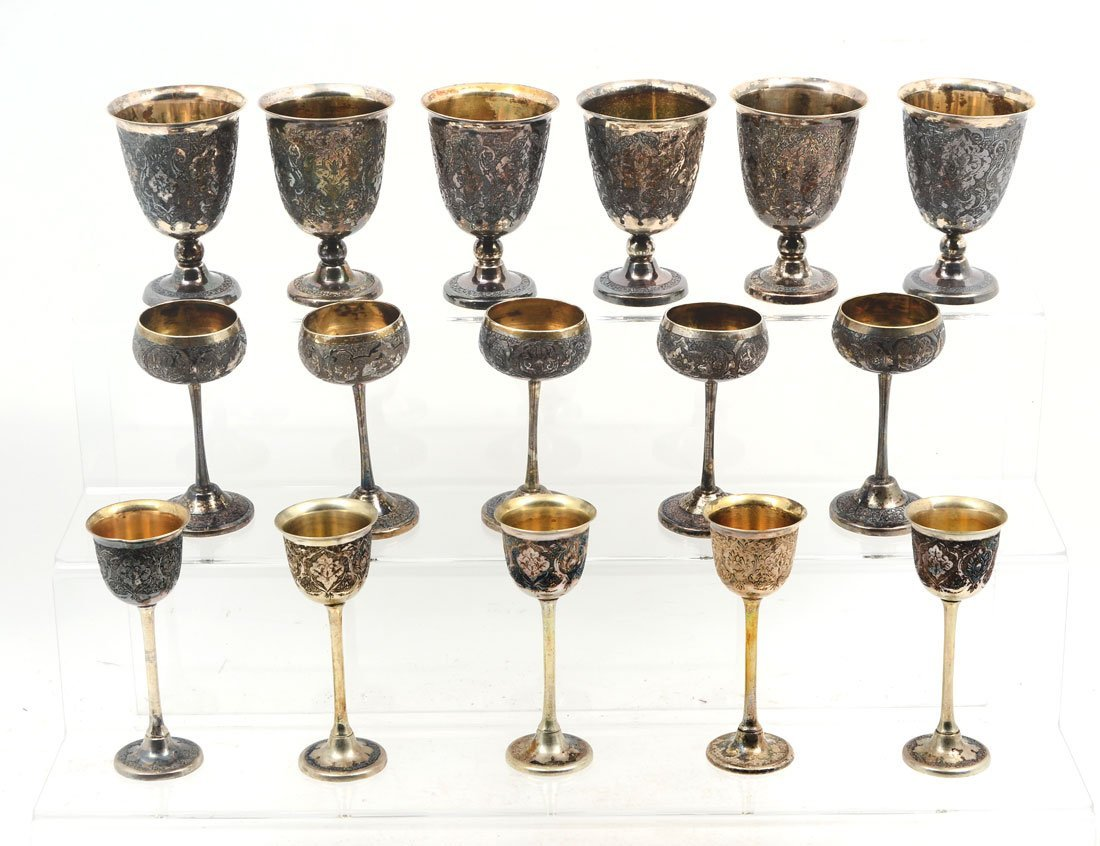 COLLECTION OF ENGRAVED MIDDLE EASTERN SILVER CUPS