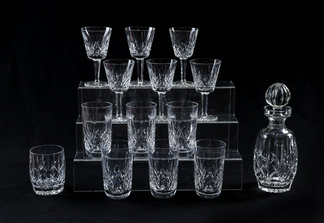 WATERFORD LISMORE DECANTER AND STEMWARE