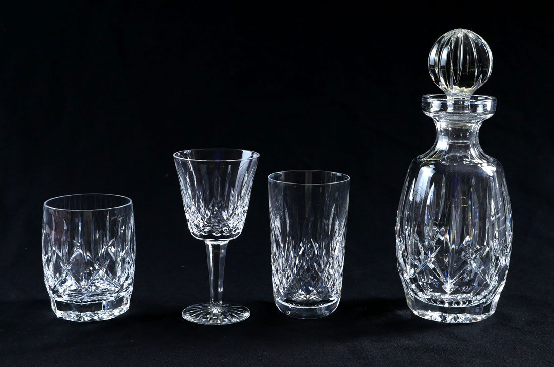 WATERFORD LISMORE DECANTER AND STEMWARE - 2