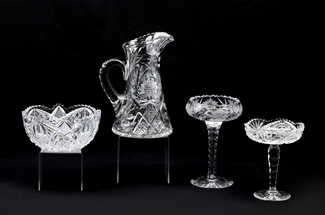 4 PIECE CUT GLASS BOWL, PITCHER, AND 2 COMPOTES