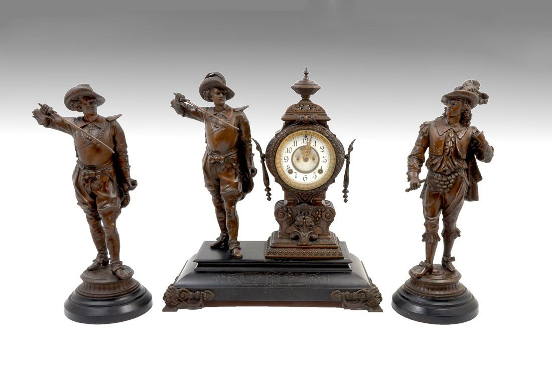 ANSONIA FIGURAL MUSKETEERS CLOCK GARNITURE SET