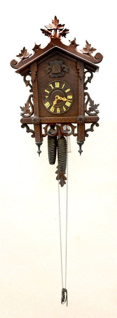 CARVED AMERICAN CUCKOO CLOCK