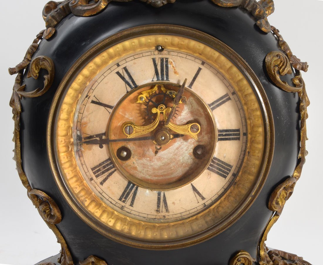 WATERBURY CAST IRON AND GILT METAL MANTLE CLOCK - 2