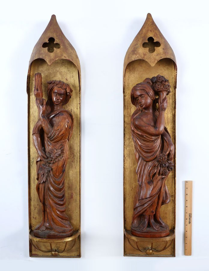 PAIR ITALIAN METAL & CARVED WOOD WALL HANGINGS