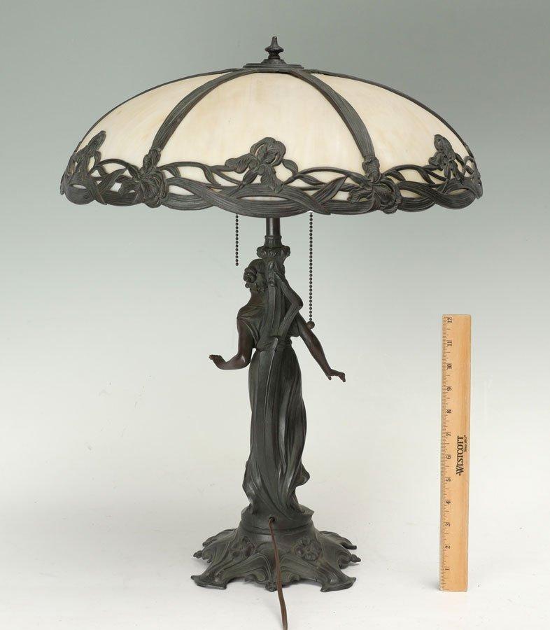 FIGURAL SLAG GLASS TABLE LAMP - 9