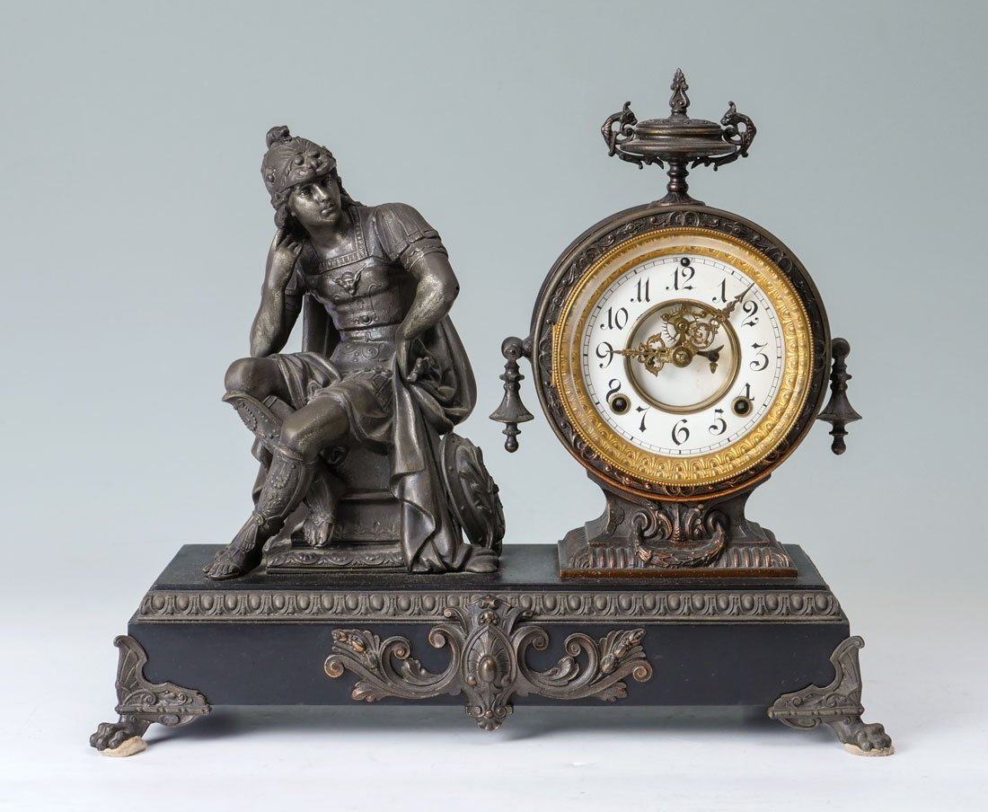 ANSONIA SPELTER & IRON FIGURAL MANTLE CLOCK