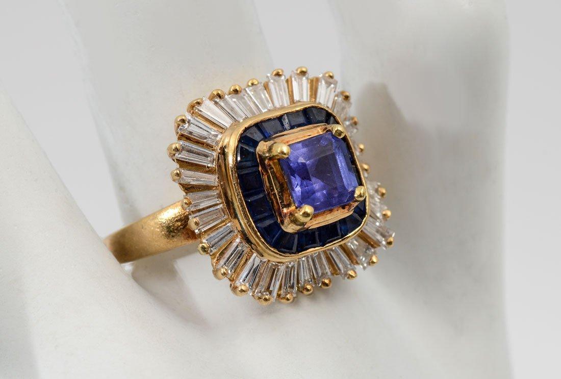 BOLD 18K TANZANITE, SAPPHIRE & DIAMOND RING