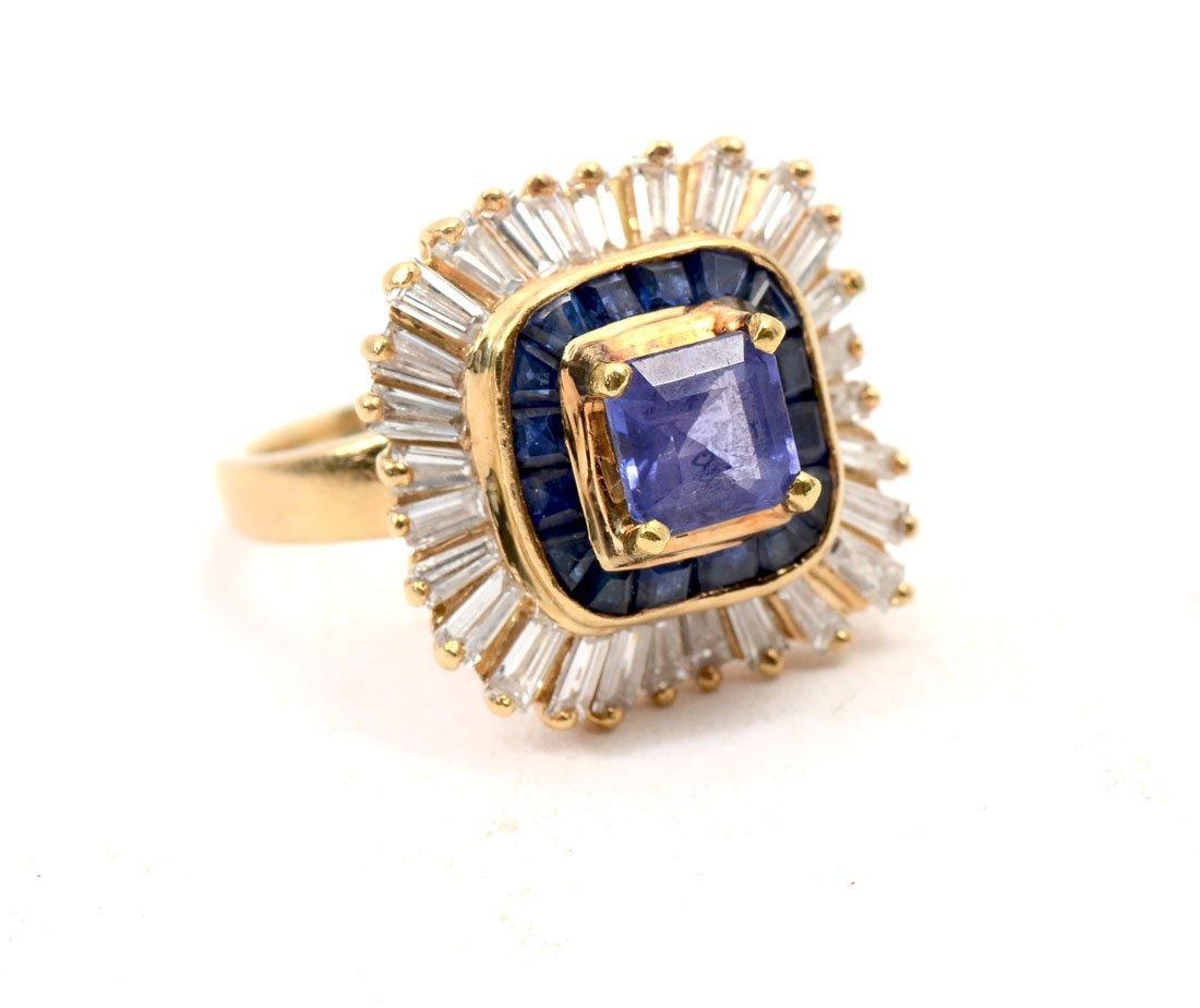 BOLD 18K TANZANITE, SAPPHIRE & DIAMOND RING - 2