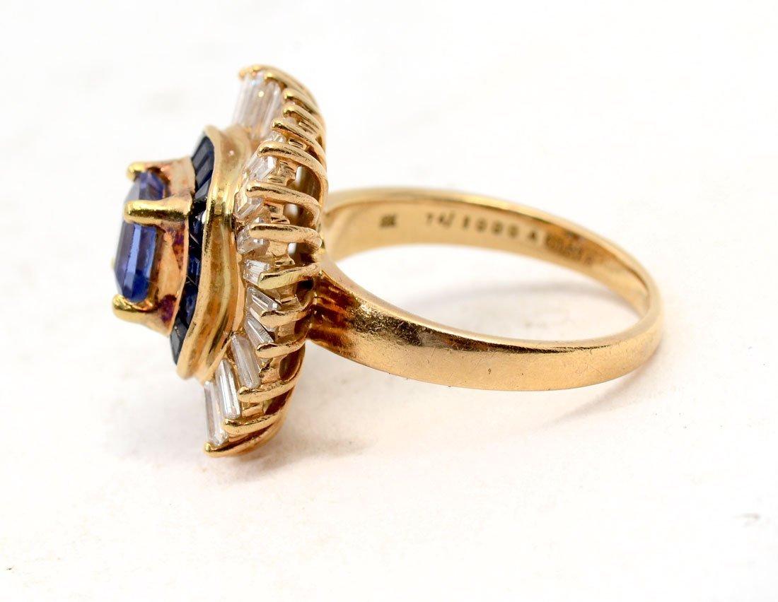 BOLD 18K TANZANITE, SAPPHIRE & DIAMOND RING - 3