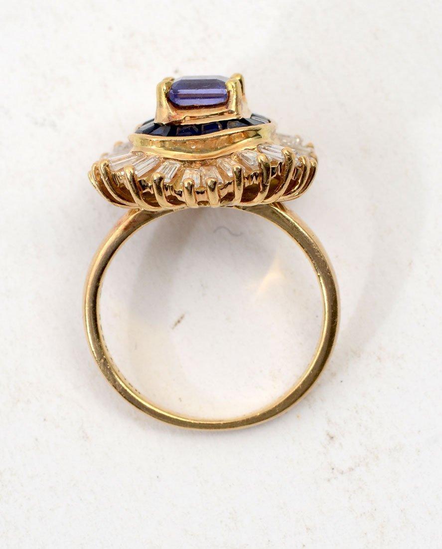 BOLD 18K TANZANITE, SAPPHIRE & DIAMOND RING - 4
