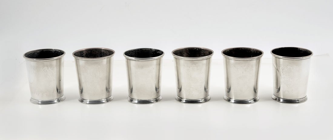 6 FISHER STERLING MINT JULEP CUPS