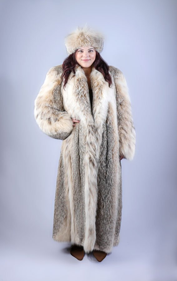 GORGEOUS LYNX FULL LENGTH COAT & MATCHING HEAD BAND: