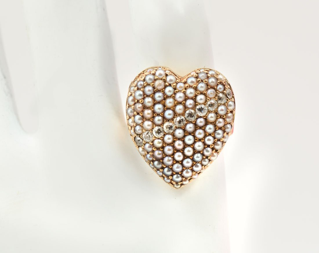 14K	PEARL & DIAMOND HEART RING