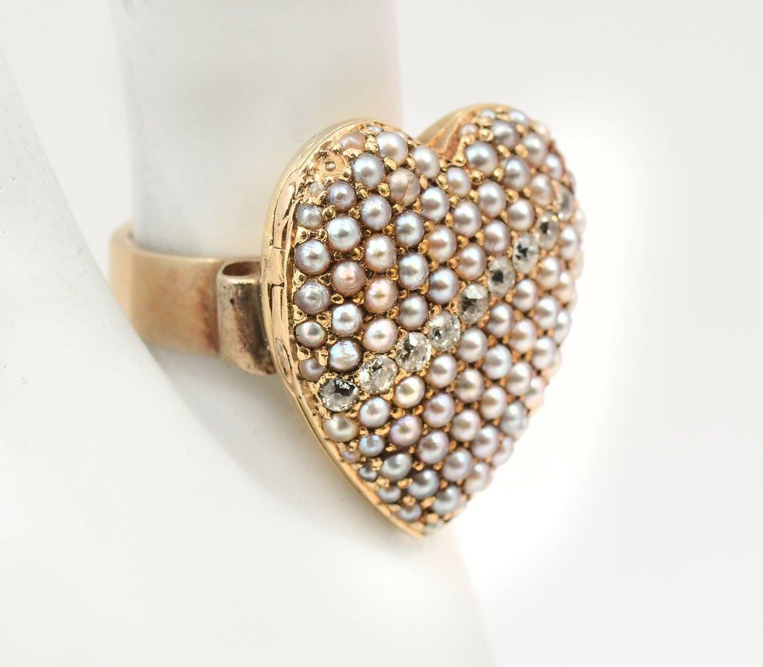 14KPEARL & DIAMOND HEART RING - 2