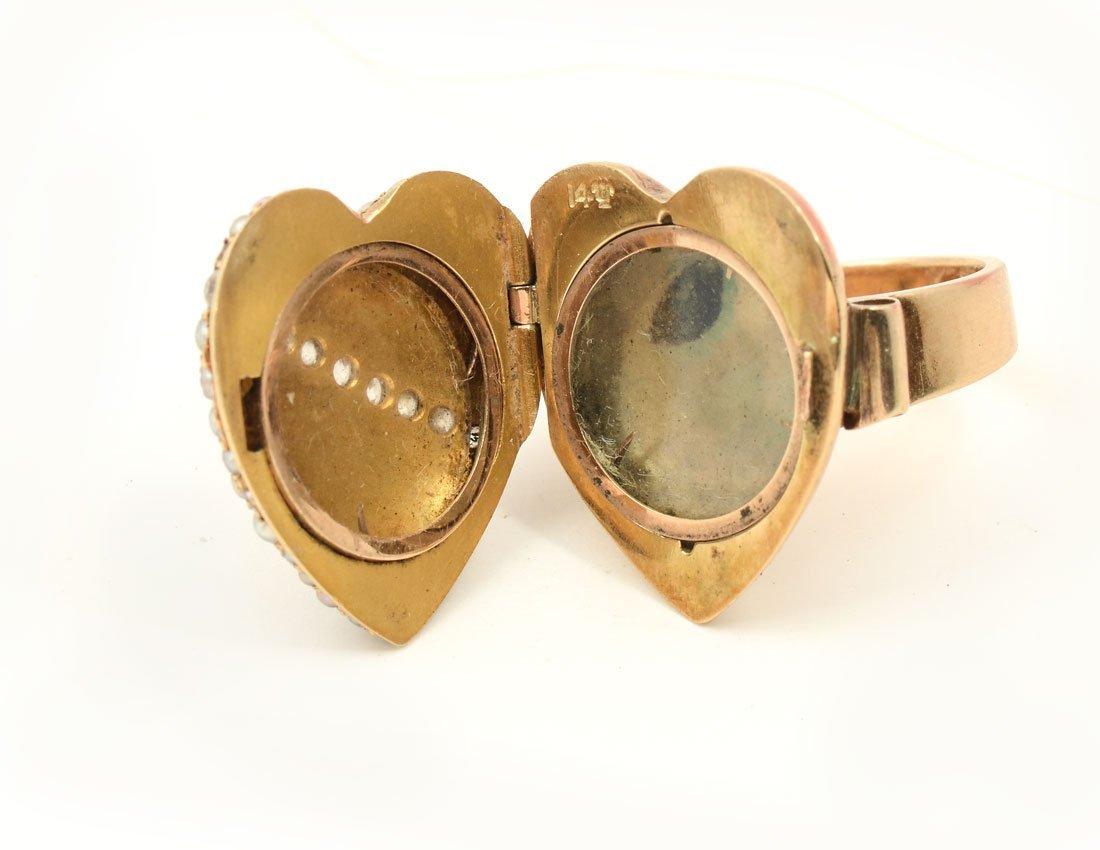 14KPEARL & DIAMOND HEART RING - 3