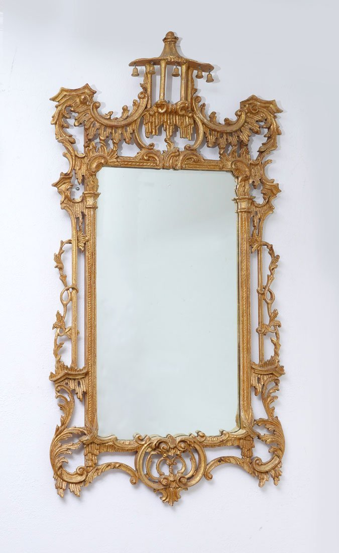 GILT WOOD CHINESE CHIPPENDALE WALL MIRROR