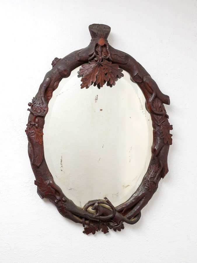 GERMAN BLACK FOREST CARVED OAK MIRROR