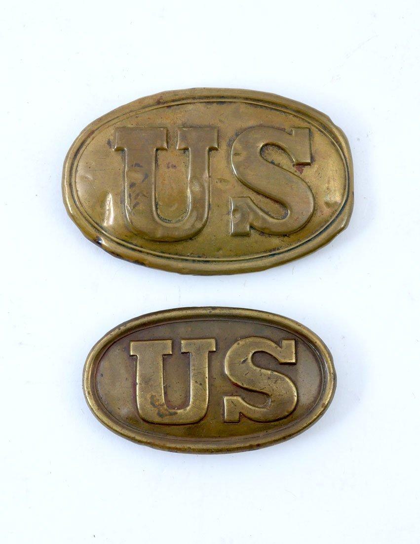 2 CIVIL WAR US BRASS BELT PLATES