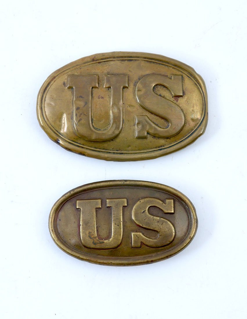 2 CIVIL WAR US BRASS BELT PLATES