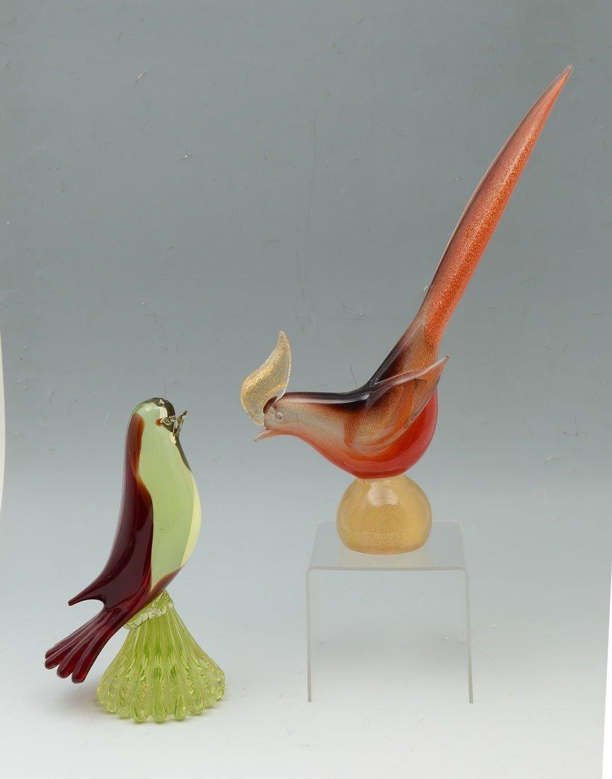 2 PIECE VENETIAN GLASS FIGURAL BIRDS