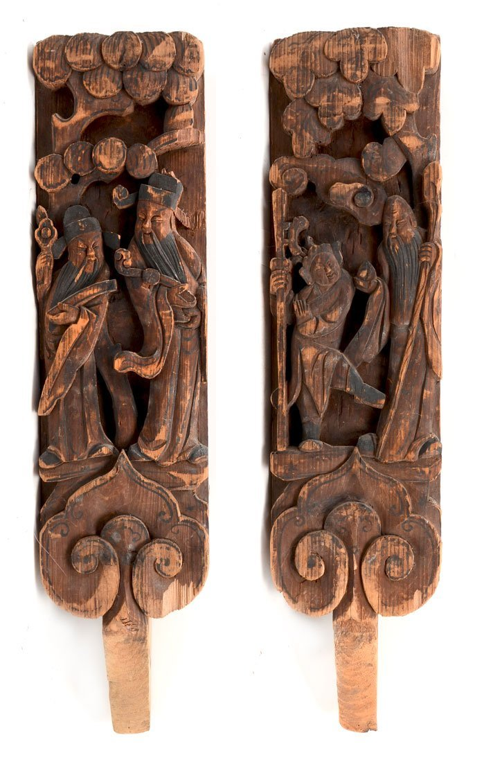 PAIR CHINESE CARVED WALL HANGING PANELS